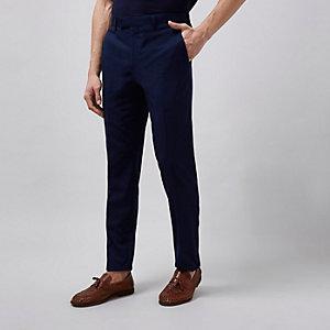 Pantalon de costume ajusté bleu marine