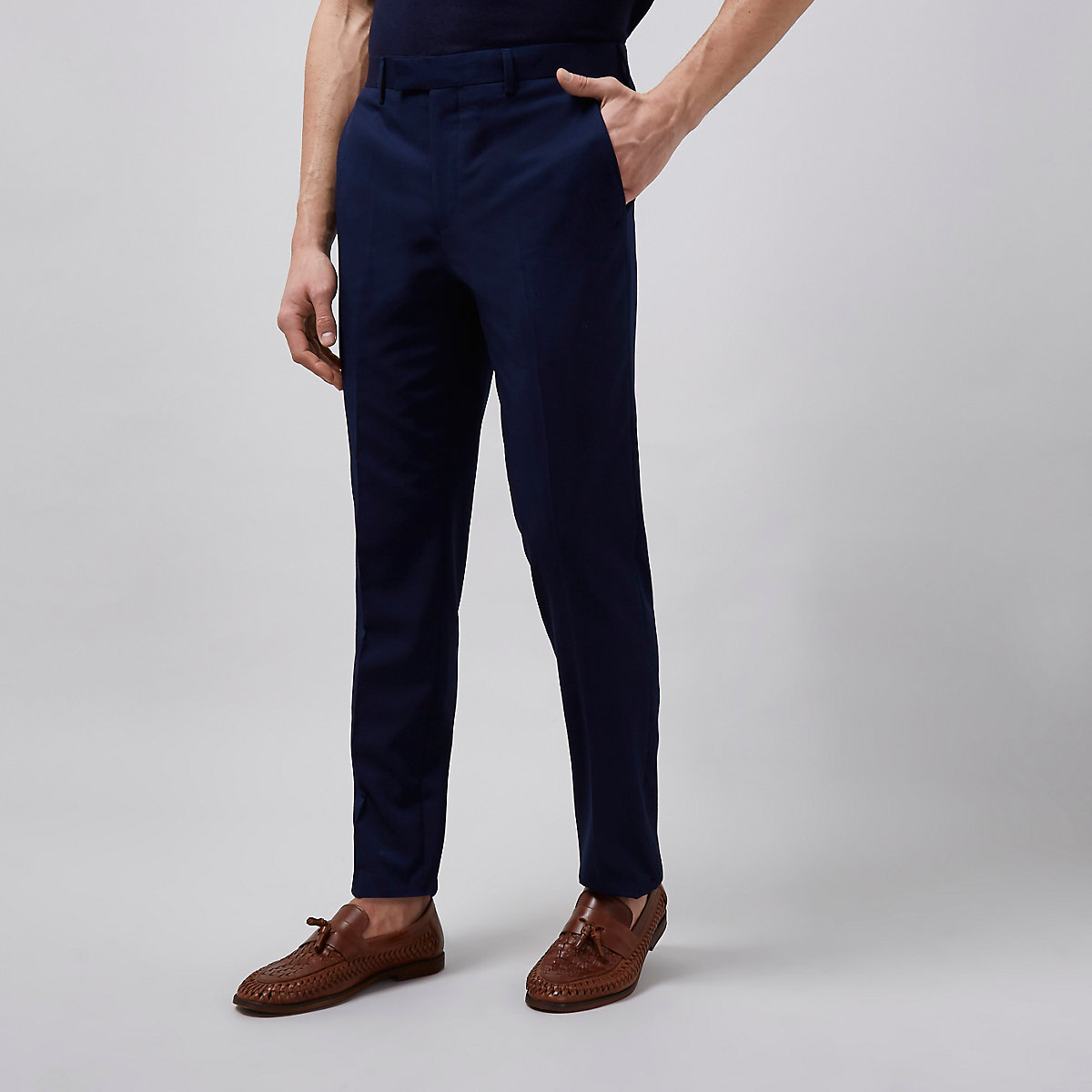 Navy tailored suit pants