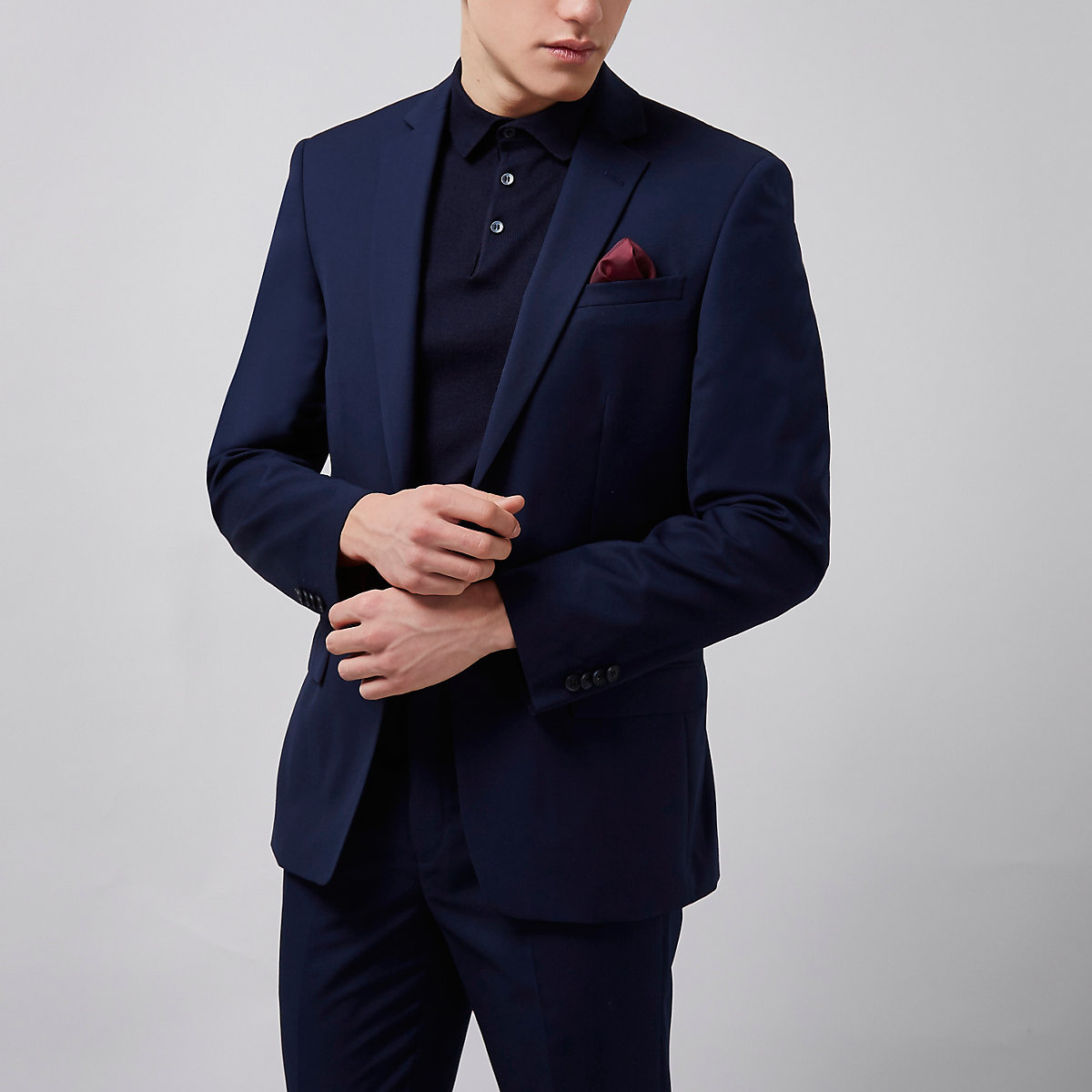 Navy tailored suit jacket
