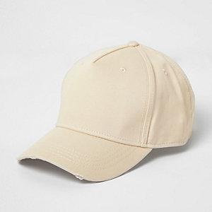 Ecru distressed baseball cap