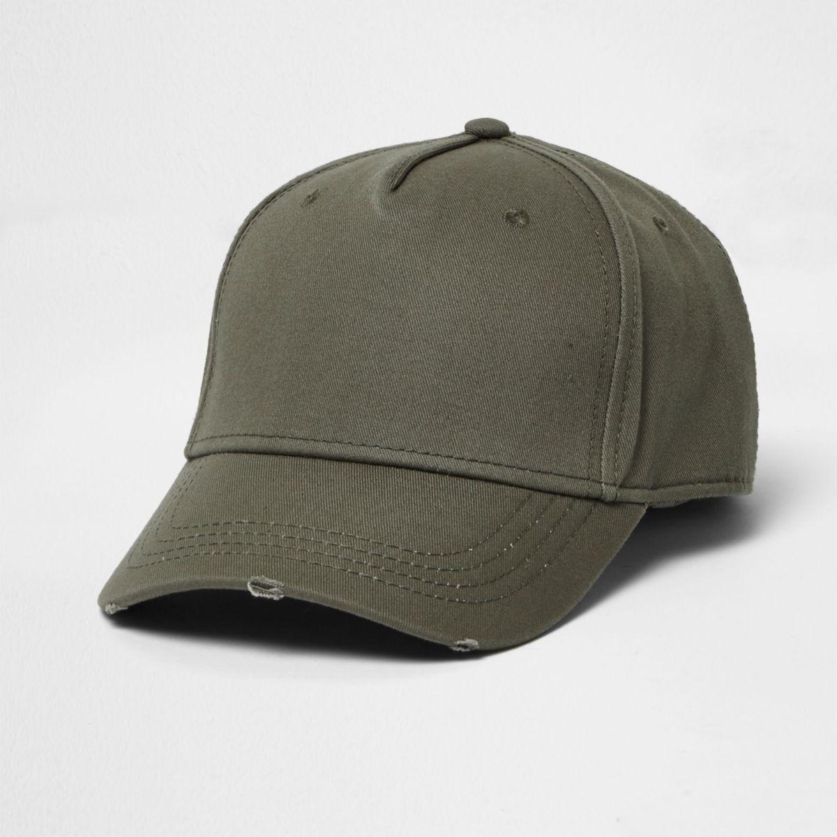 Khaki distressed baseball cap