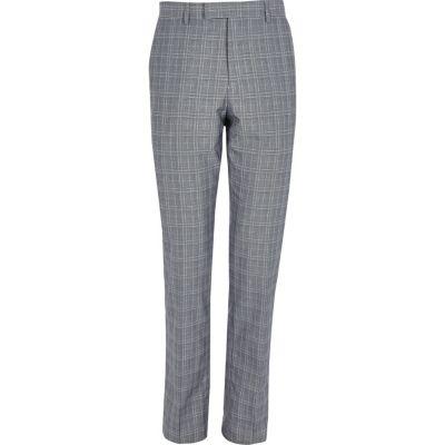 River Island Pantalon de costume slim à carreaux gris