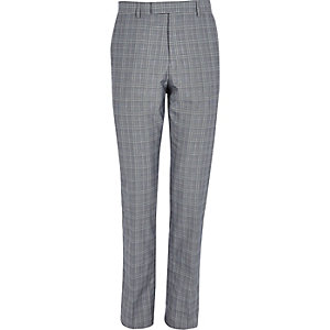 Pantalon de costume slim à carreaux gris