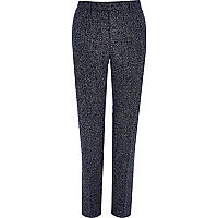 Navy blue textured skinny fit suit trousers
