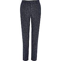 Marineblaue, strukturierte Skinny Fit Anzughose