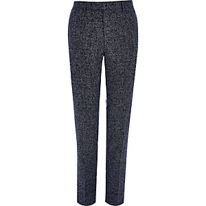 Navy blue textured skinny fit suit pants