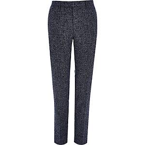 Marineblauwe skinny-fit pantalon met textuur