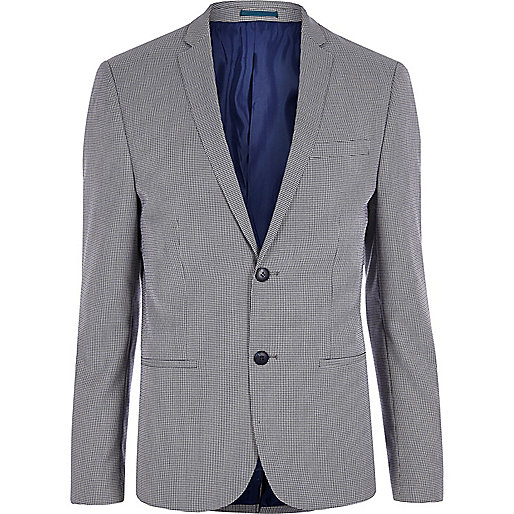 Navy pupstooth skinny suit blazer