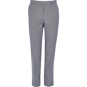Navy pupstooth check skinny fit suit trousers