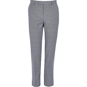 Pantalon de costume skinny motif pied-de-poule bleu marine