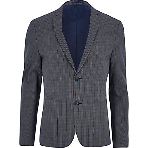 Veste de costume coupe skinny à carreaux bleu marine