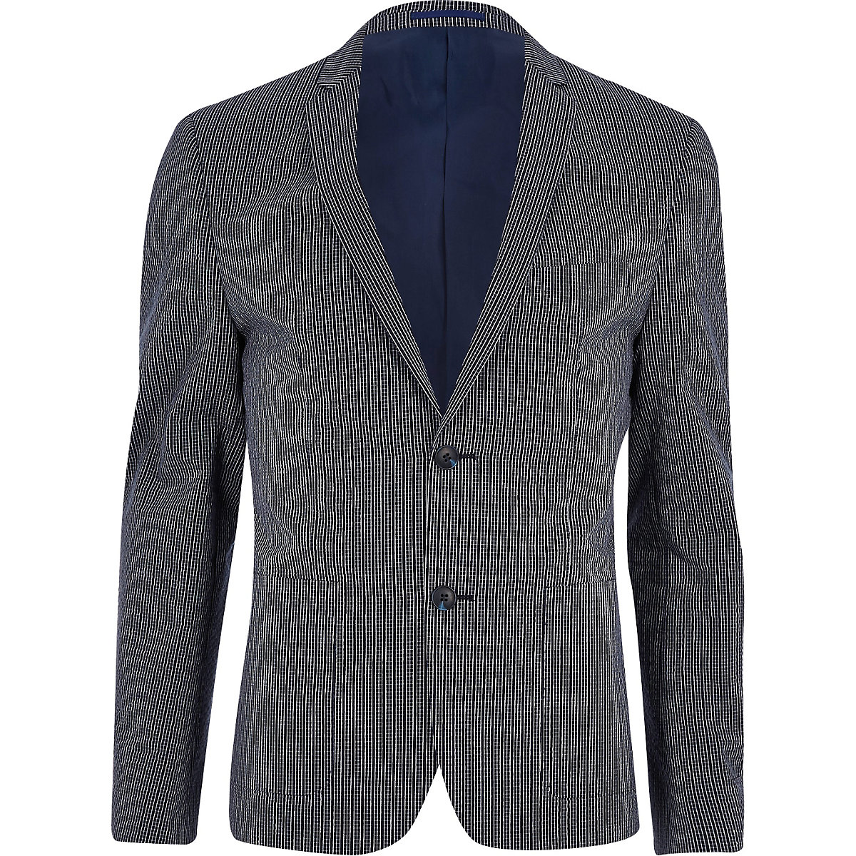 Navy check skinny fit suit jacket