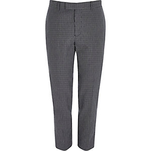 Navy seersucker skinny fit suit pants