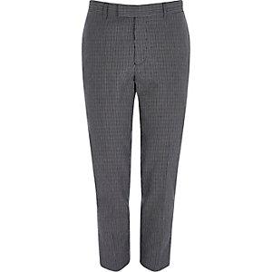 Pantalon de costume skinny en seersucker bleu marine