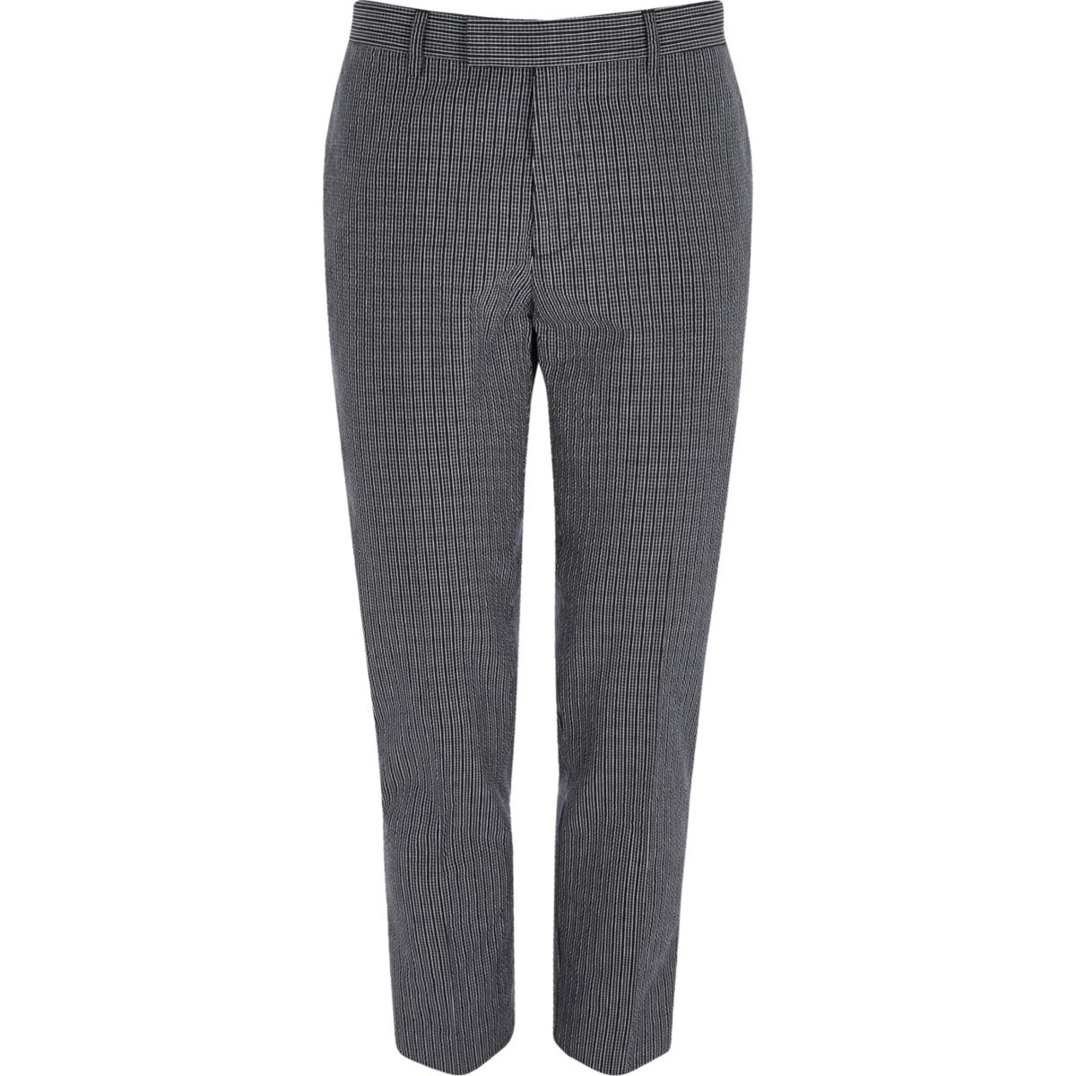 Navy seersucker skinny fit suit trousers