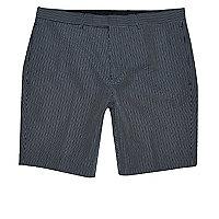 Navy seersucker skinny fit smart shorts