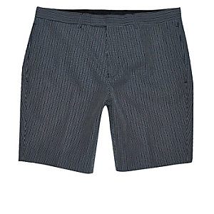 Navy seersucker skinny fit smart shorts