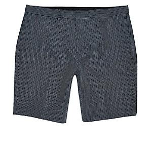 Short habillé coupe skinny en seersucker bleu marine