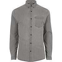 Grey denim casual muscle fit shirt