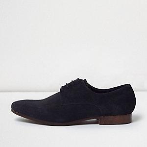 Chaussures habillées en daim bleu marine