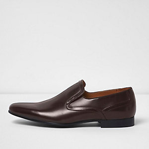 Dark brown smart slip on shoes