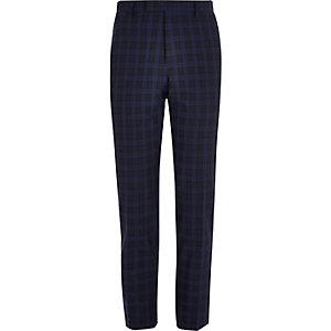 Marineblauwe geruite skinny fit pantalon