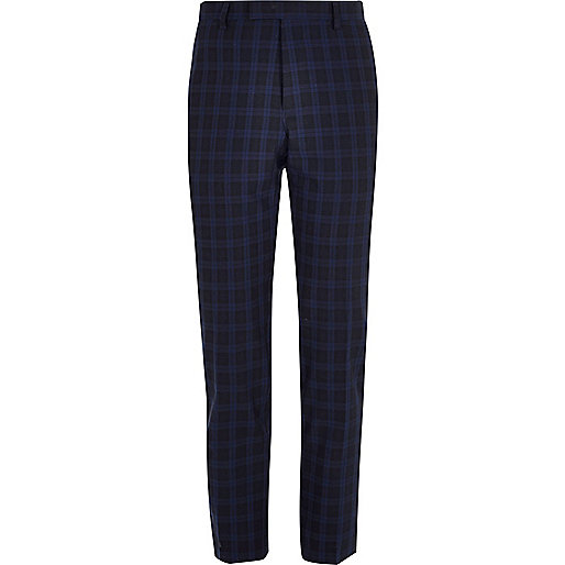 Navy check skinny fit suit pants