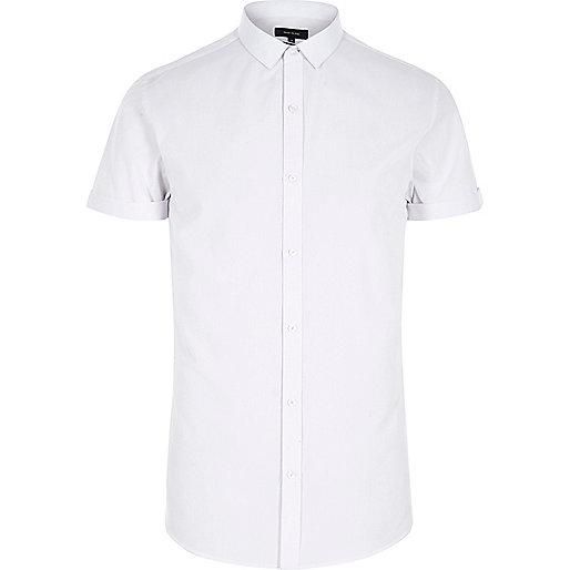 White short sleeve slim fit shirt