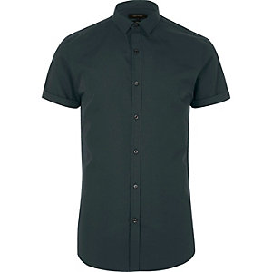 Green micro collar short sleeve shirt