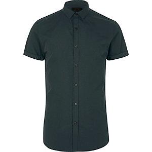 Groen overhemd met korte mouwen en kleine kraag