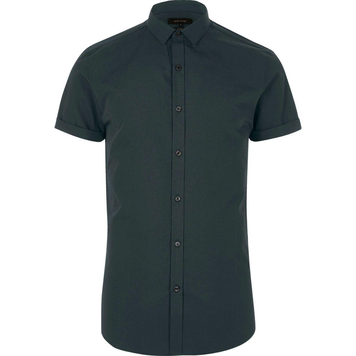 Green micro collar short sleeve shirt