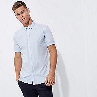 Blue micro collar short sleeve slim fit shirt