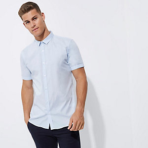 Blue micro collar short sleeve slim fit shirt