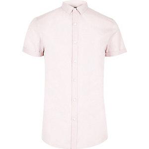 Chemise slim rose à manches courtes et petit col