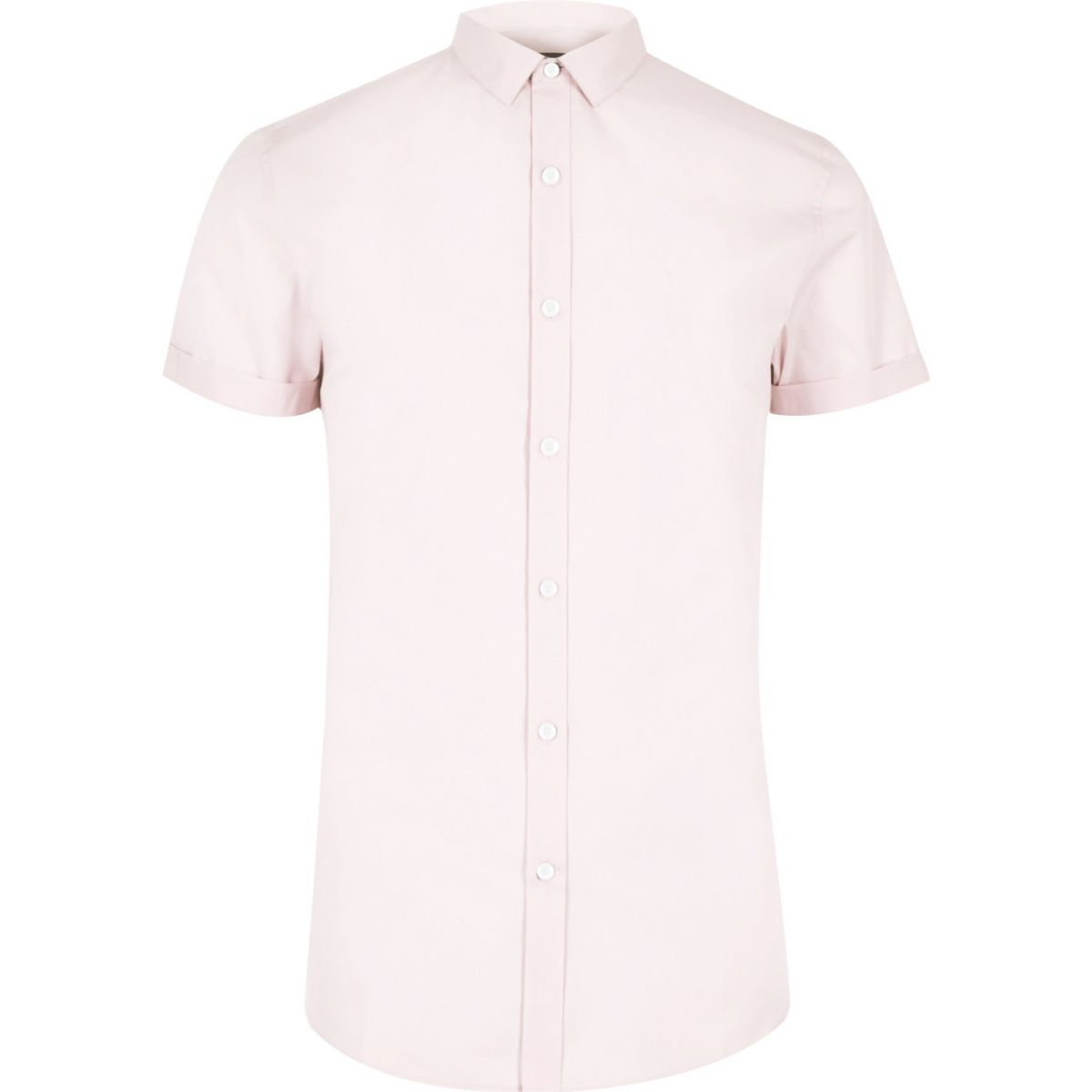 Pink micro collar short sleeve slim fit shirt