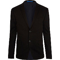 Black jersey skinny fit suit jacket
