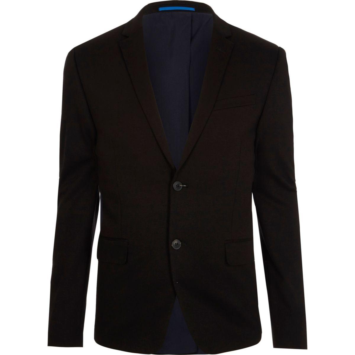 Black jersey skinny fit suit jacket