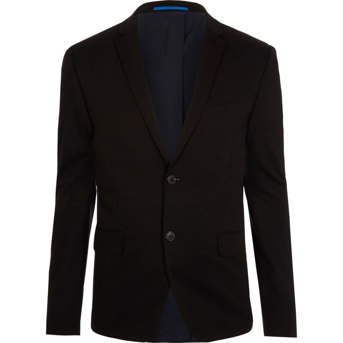 Veste de costume skinny en jersey noire