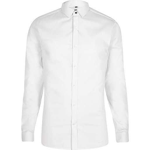 White micro point collar skinny fit shirt