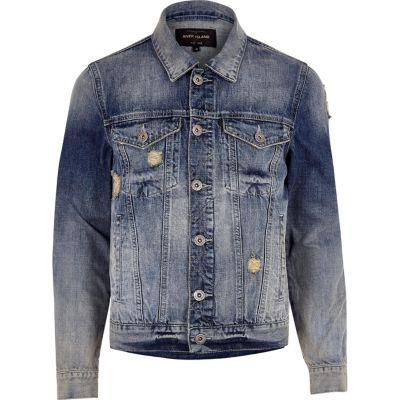 Blauw acid wash distressed denim jack