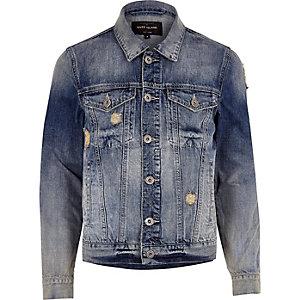 Blue acid wash distressed denim jacket