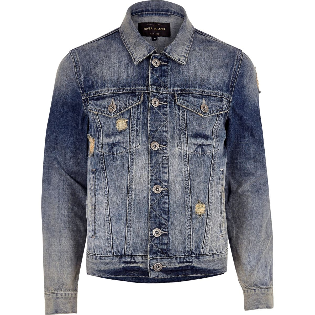 Blue acid wash distressed denim jacket