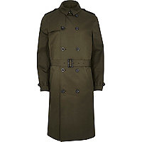 Khaki green traditional longer length mac