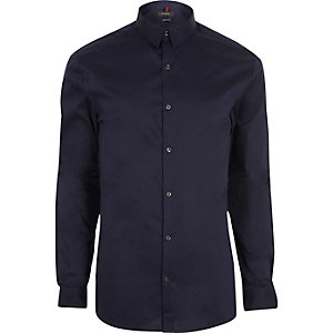 Navy blue muscle fit shirt