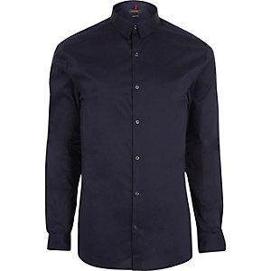 Marineblauw aansluitend T-shirt
