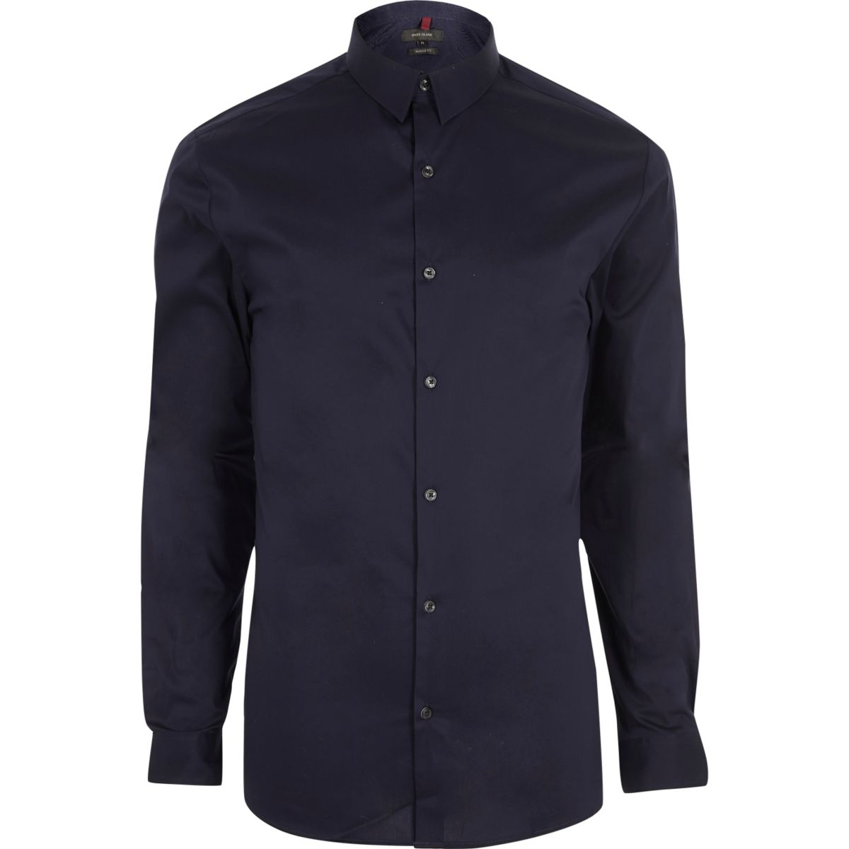 Navy blue muscle fit long sleeve shirt