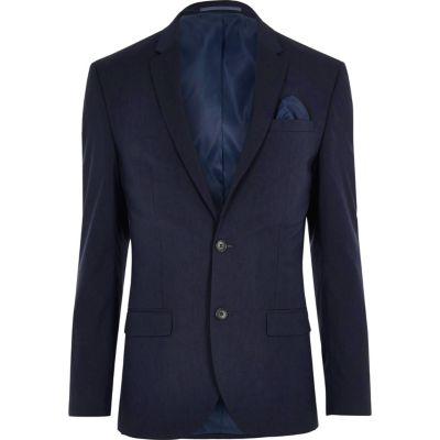Donkerblauw slim-fit colbert met stretch thumbnail