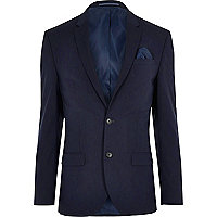 Dark blue stretch slim fit suit jacket