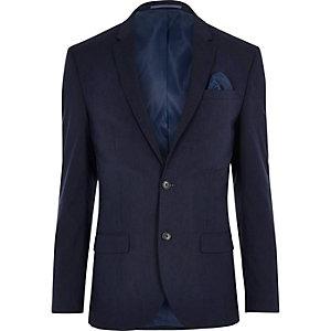 Veste de costume coupe slim stretch bleu foncé