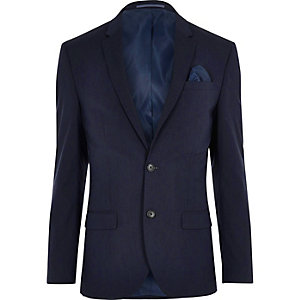 Donkerblauw slim-fit colbert met stretch